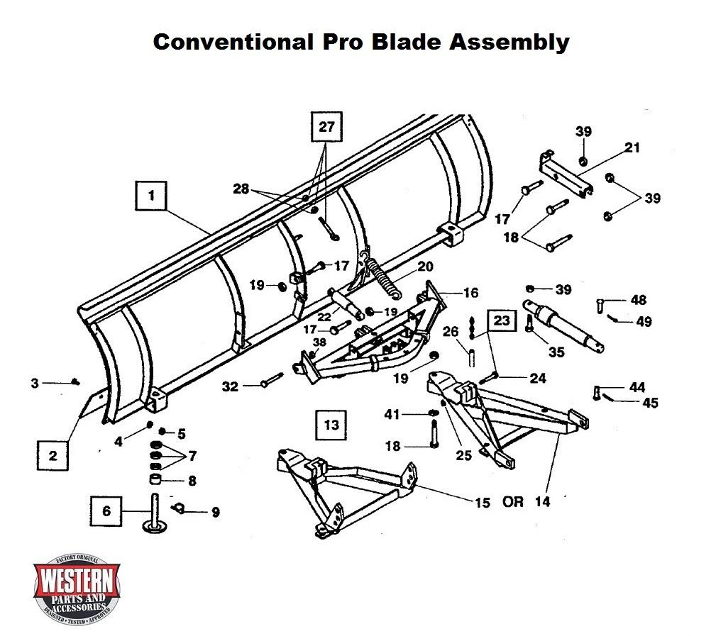 Pro Plow Diagrams - Conventional Snowplows Diagrams - Parts With Diagrams -  Western Original Snowplow Parts - Blade Components - Snowplow Parts  WarehouseSnowplow Parts Warehouse